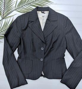 Banana Republic Black Pinstriped 2 Button Blazer